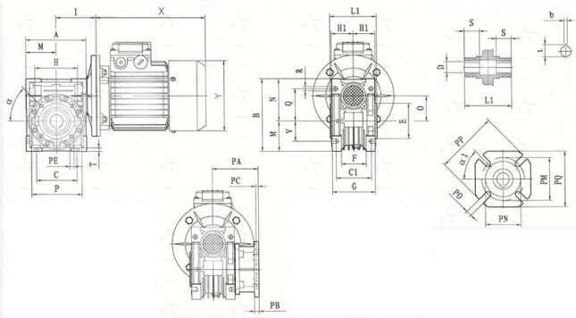 Червячные одноступенчатые мотор-редукторы NMRV 40